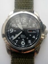 Seiko V158 Military Style Watch Solar Power 100M Water Resistance Never Worn
