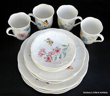 16 PIECE SET ~ BUTTERFLY MEADOW by LENOX ~ 4 X 4 PIECE SETTING ~ DINNER FOR 4