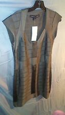 French Connection V-Neck Capped Sleeve Bandage Bodycon Dress Gray sz 12 NWT