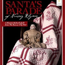 SANTA'S PARADE OF NURSERY RHYMES Historic Redwork Embroidered Quilt Blocks NEW