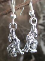 Tibetan Silver Howling Wolf Sitting Artisan Handcrafted Earrings-Wicca Tribal