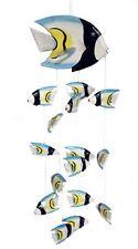 FISCHE MOBILE WINDSPIEL Deko Fisch Holz Windspiele weiß Fischmobile Fischemobile