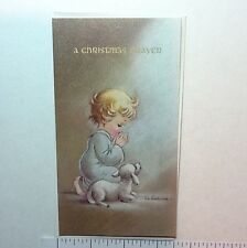 Unused Eve Rockwell Xmas Greeting Card Sweet Angel Praying Near White Lamb
