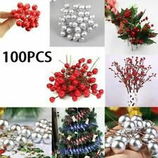 100Pcs Artificial Red Holly Berry-Christmas Decor On Wire Bundle Garland Wreath