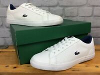 LACOSTE UK 5 EU 38 WHITE NAVY BLUE LEROND LEATHER TRAINERS CHILDRENS BOYS LG