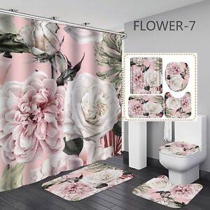 1/3/4pcs Floral Print Waterproof Bathroom Shower Curtain Toilet Cover Mat Set