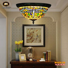 Makenier Tiffany Style Stained Glass Dragonfly Flush Mount Ceiling Light Fixture