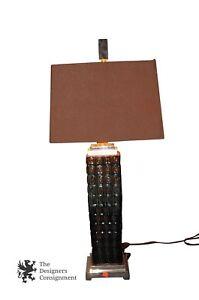 "Vtg Uttermost Modern Ceramic Table Lamp Porcelain Chrome Accent 29"" Arts & Craft"