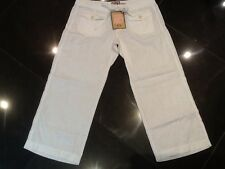 NWT Juicy Couture New & Gen. Ladies Small White Crop Leg Linen Trousers UK 8/10