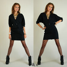 VTG Black Textured Floral Crop Urban Glam Disco Jacket and Mini Skirt Set S M