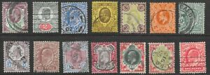 King Edward VII Definitive Stamps x 14 as per scan r7151