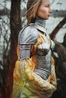 Medieval Women armor, pair of pauldrons and metal gorget Knight Shoulder Cosplay
