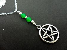 Un Tibetano Plata Blanco Jade Pentagrama Pentangle temática Collar. Nueva.