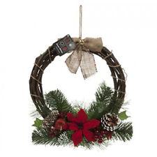 """14""""/35CM Christmas Rattan Wreath With Poinsettia & Bow Garland Flower Xmas Decor"""