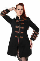 Ladies Black & Copper Victorian Steampunk Jacket Coat Goth Punk Emo Banned