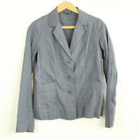 Eileen Fisher Grey Linen Blend Stretch Lightweight Blazer Jacket 2