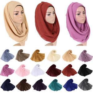 Muslim Women Long Scarf Scarves Voile Crinkle Shawl Arab Scarf Hijab Stole Wrap