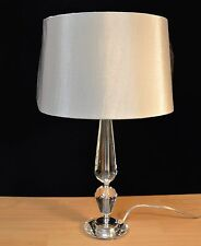 PACK OF TWO ENDON ASTORIA CRYSTAL GLASS TABLE LAMPS WITH NEUTRAL SHADE