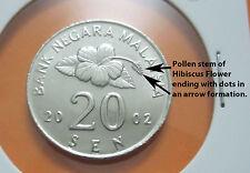 "MALAYSIA  20sen coin 2002 x 2pcs (Variety 1 & 2) Tepak Sirih #1 ""BU"""