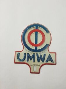 "Vintage ""UMWA"" United Mine Workers Association License Plate Topper"
