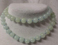 Antique Chinese Hand Made Knotted Icy Green White Grade A Jade  Necklace