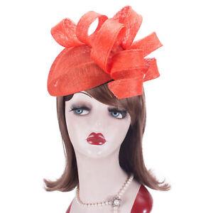 Women Kentucky Derby Sinamay Fascinator Wedding Church Racing Hat Headpiece T435