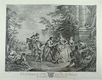 Jean-Baptiste Pater (1695-1736) Rococo Scene Wealth & Poverty Folio etching 1771