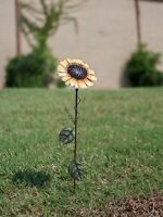 "21"" Metal Sunflower Garden Yard Stake Decor Iron Outdoor Art Lawn Decoration"