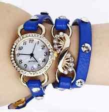 Rhinestone Leather Quartz Bracelet Watch - Dark Blue & Gold
