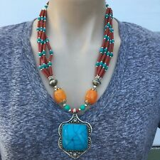 NL-163 Antique Handmade Nepalese Artisan Tibetan Turquoise Coral Amber Necklace