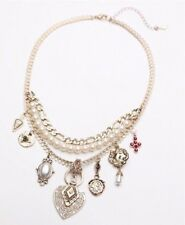 Free People Layered Pearl & Charm Stones Collar Gold Tone Statement Necklace NWT
