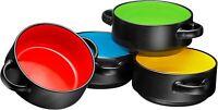 Bruntmor Porcelain Soup Bowls With Handles Set of 4 Oven Safe Bowls 19 OZ Black