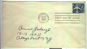 US Airmail FDC 1958 Scott #C51 Philadelphia to New York Good
