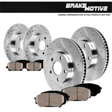 Front+Rear Drill Slot Brake Rotors +Ceramic Pads For 2006 - 2013 Mazda 3