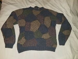 VTG NORTHERN ISLES Heavy Sweater Patchwork Patch Patched Size XXL Ramie Cotton
