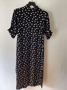 Zara Studio Silk Polka Dot Dress, Size M