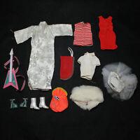 Lot of 7 Vintage Barbie Clothes Shirts Coats Dresses Etc. CF01611
