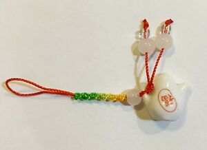 Red String Strap Charm for Cell Phone, Handfan, Hand Bag in design of mini Porce