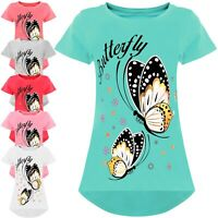 cooles Mädchen T-Shirt mit Schmetterling Motiv Kinder Bluse Kurzarm 21899