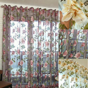 Floral Window Curtain Sheer Voile Net Curtains Drape Panels Room Door Divider.