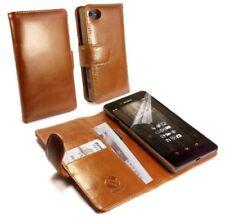Fundas y carcasas color principal marrón de piel para teléfonos móviles y PDAs Sony