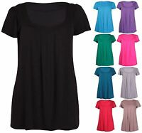 Womens Plus Size Short Sleeve Ladies Stretch Gathered Long T-Shirt Plain Tops