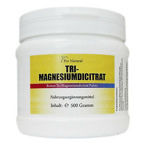 Magnesium Citrat, 500 g Pulver hochwertiges Tri-Magnesiumdicitrat wasserfrei