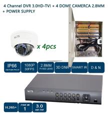 4CH HD-TVI DVR +1080P NIGHT VISION 2.8MM 4PC DOME CAMERA + POWER SUPPLY CCTV