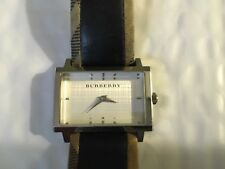 BURBERRY WATCH WOMEN BU2150 SWISS MADE BROWN LEATHER/CANVAS STRAP WHITE DIAL