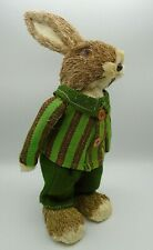 """Pier 1 Bunny Natural Sisal Peter Rabbit 14"""" Tall Green Otto Striped Suit Easter"""