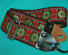 """Vintage 70's ACE Style Woven Woodstock Hootenanny 2"""" Guitar Strap Made in Japan"""