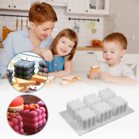 6 Cube Mousse Cake Silicone Mold 3D Chocolate Baking Mould DIY Decorating