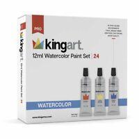 KINGART™ Artist Watercolor Paint, 12ml (.4oz),  Set of 24 Unique Colors