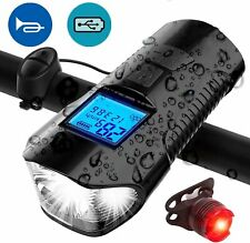 USB Rechargeable LED Bicycle Bike Headlight Rear Tail Light Speedometer Odometer